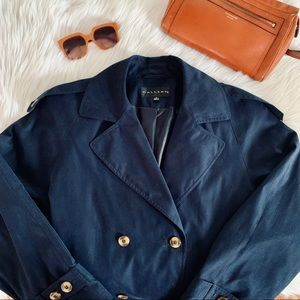 GALLERY Double-Breasted Navy Blue Trench Coat